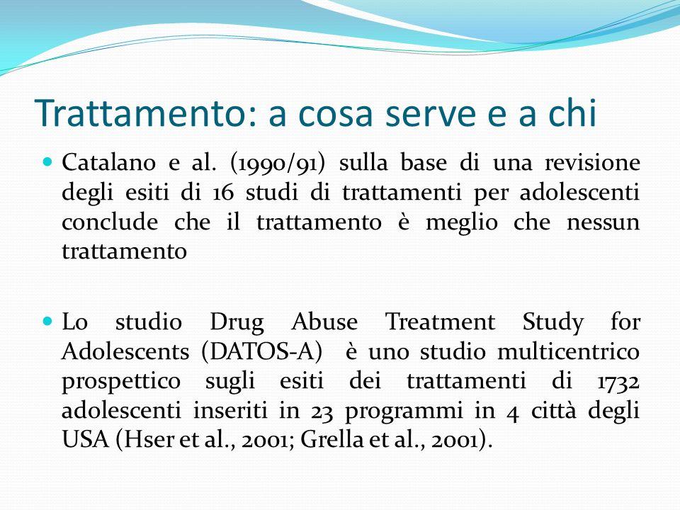 Trattamento: a cosa serve e a chi Catalano e al. (1990/91) sulla base di una revisione degli esiti di 16 studi di trattamenti per adolescenti conclude