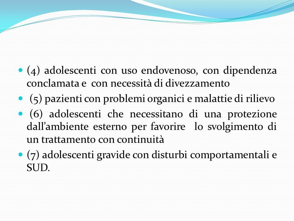 (4) adolescenti con uso endovenoso, con dipendenza conclamata e con necessità di divezzamento (5) pazienti con problemi organici e malattie di rilievo