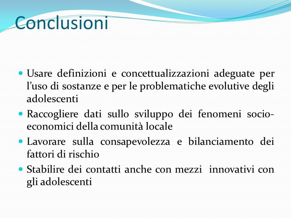 Conclusioni Usare definizioni e concettualizzazioni adeguate per luso di sostanze e per le problematiche evolutive degli adolescenti Raccogliere dati