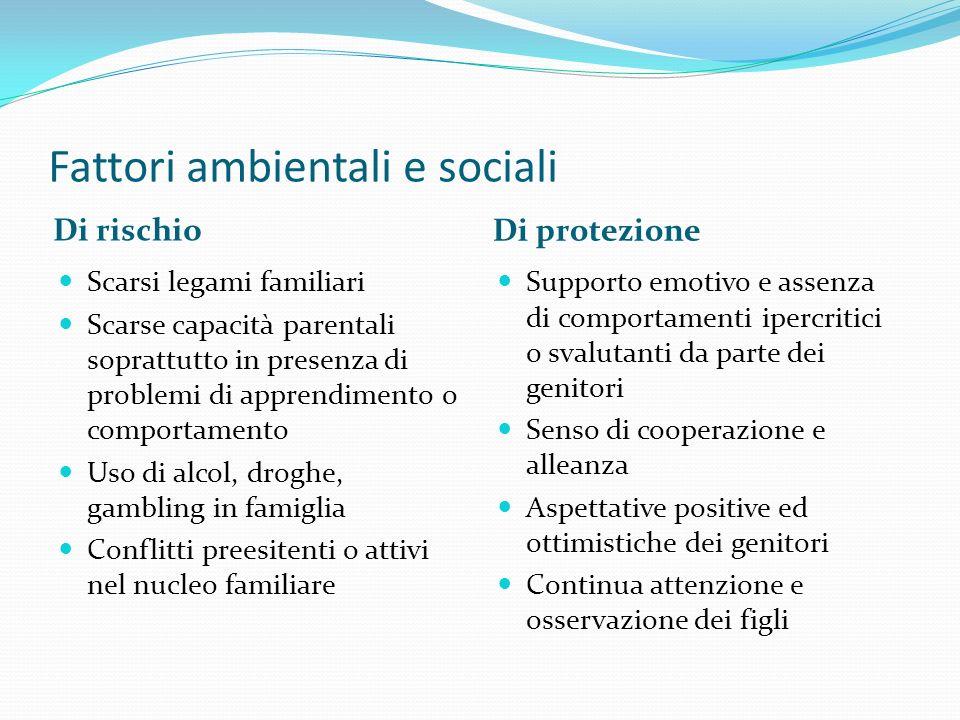 Fattori ambientali e sociali Di rischio Di protezione Scarsi legami familiari Scarse capacità parentali soprattutto in presenza di problemi di apprend