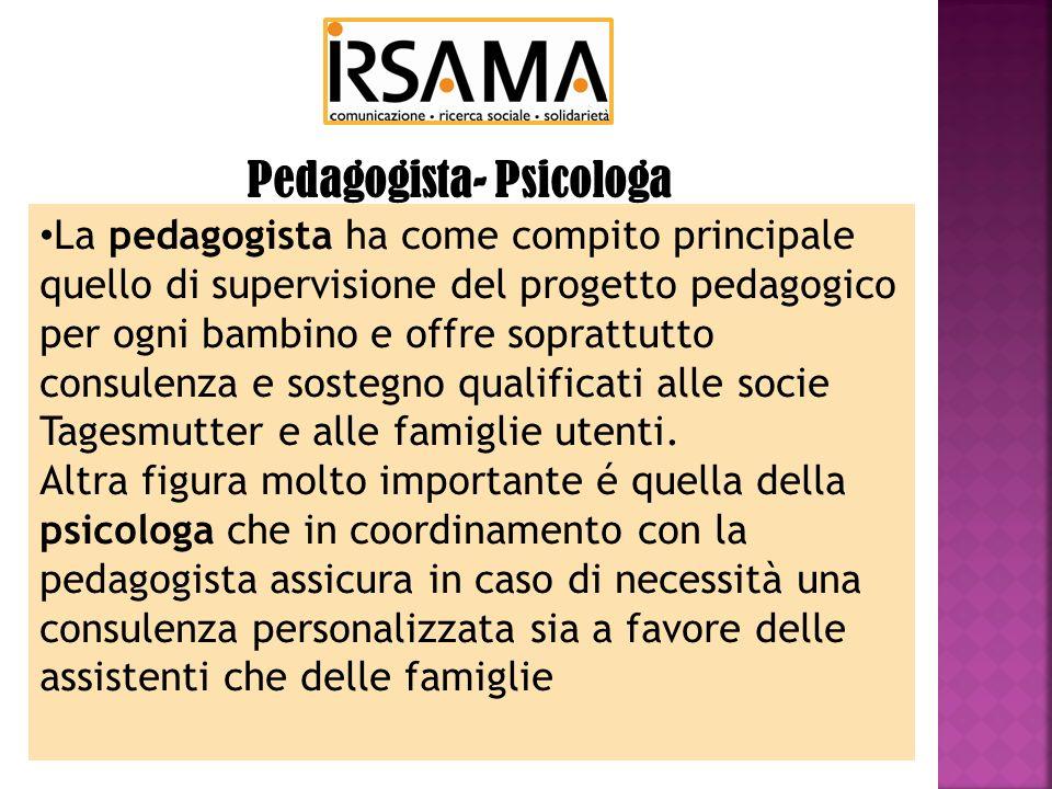 La pedagogista ha come compito principale quello di supervisione del progetto pedagogico per ogni bambino e offre soprattutto consulenza e sostegno qualificati alle socie Tagesmutter e alle famiglie utenti.