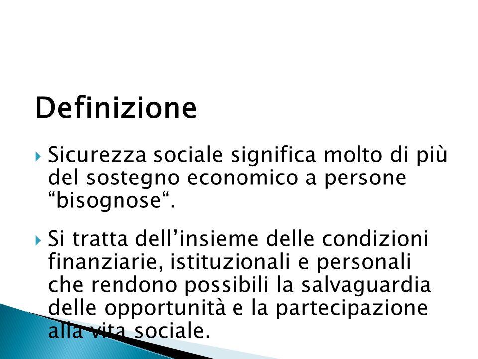 Definizione Sicurezza sociale significa molto di più del sostegno economico a persone bisognose.