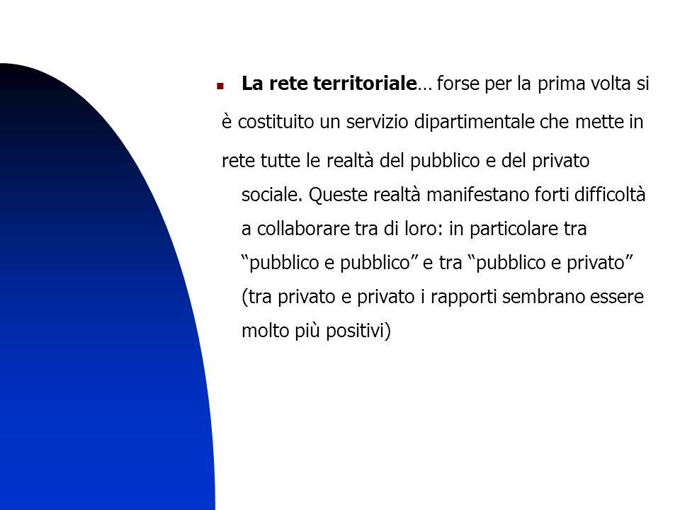11 La rete territoriale… forse per la prima volta si è costituito un servizio dipartimentale che mette in rete tutte le realtà del pubblico e del privato sociale.