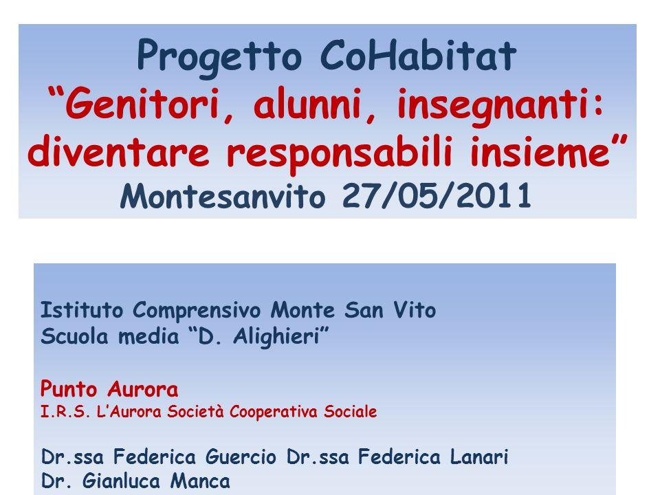 Progetto CoHabitat Genitori, alunni, insegnanti: diventare responsabili insieme Montesanvito 27/05/2011 Istituto Comprensivo Monte San Vito Scuola media D.