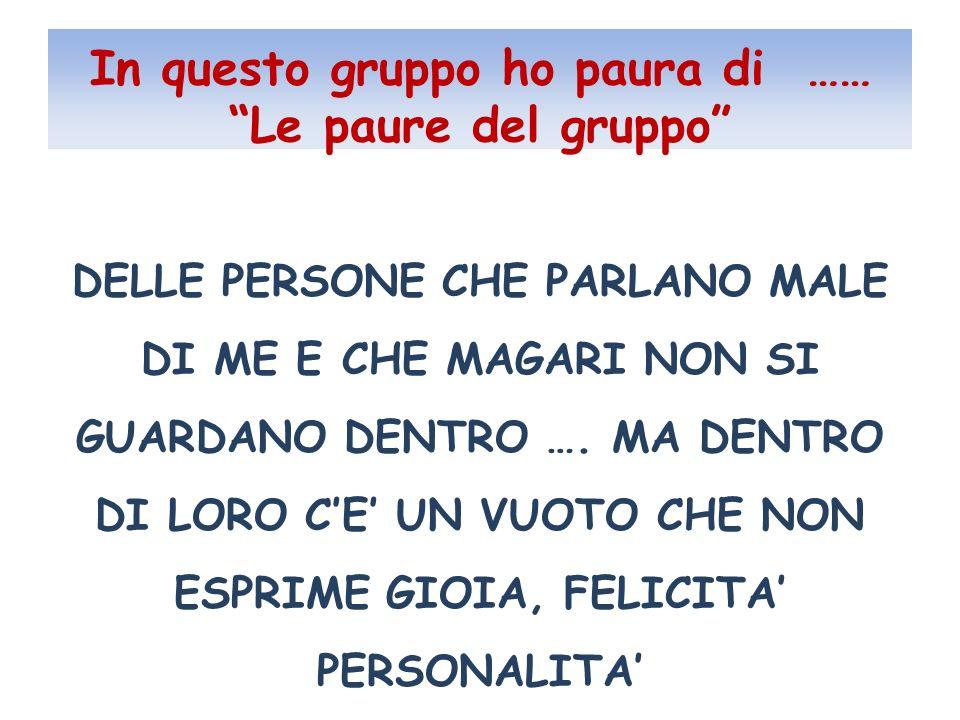 In questo gruppo ho paura di …… Le paure del gruppo DELLE PERSONE CHE PARLANO MALE DI ME E CHE MAGARI NON SI GUARDANO DENTRO ….