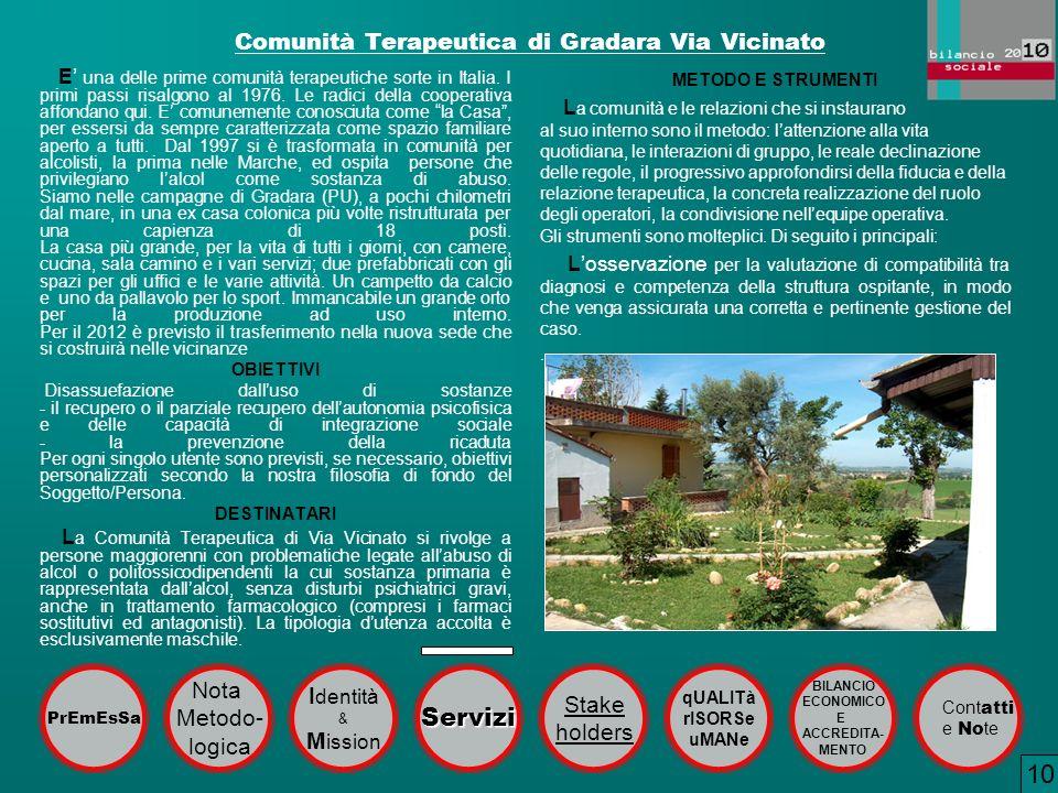 Comunità Terapeutica di Gradara Via Vicinato E una delle prime comunità terapeutiche sorte in Italia. I primi passi risalgono al 1976. Le radici della