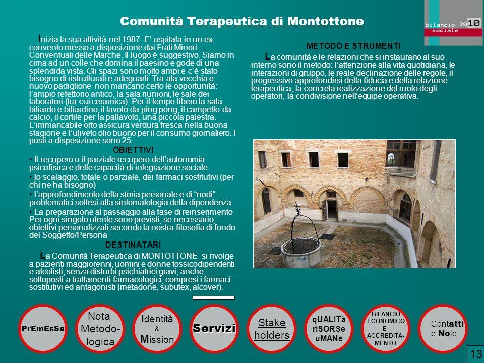 Comunità Terapeutica di Montottone I nizia la sua attività nel 1987. E ospitata in un ex convento messo a disposizione dai Frati Minori Conventuali de