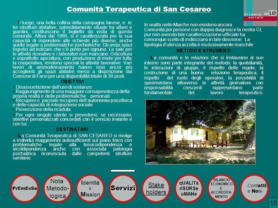 Comunità Terapeutica di San Cesareo I l luogo, una bella collina della campagna fanese, e le tre strutture abitative, splendidamente situate tra alber