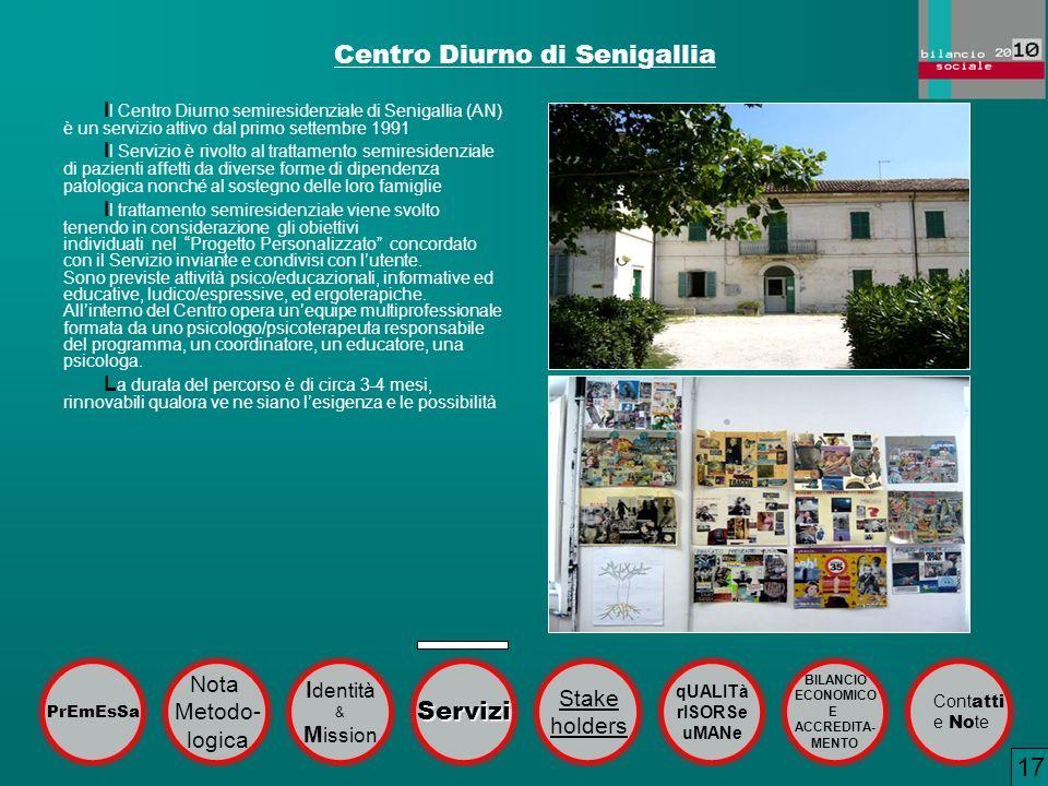 Centro Diurno di Senigallia I l Centro Diurno semiresidenziale di Senigallia (AN) è un servizio attivo dal primo settembre 1991 I l Servizio è rivolto