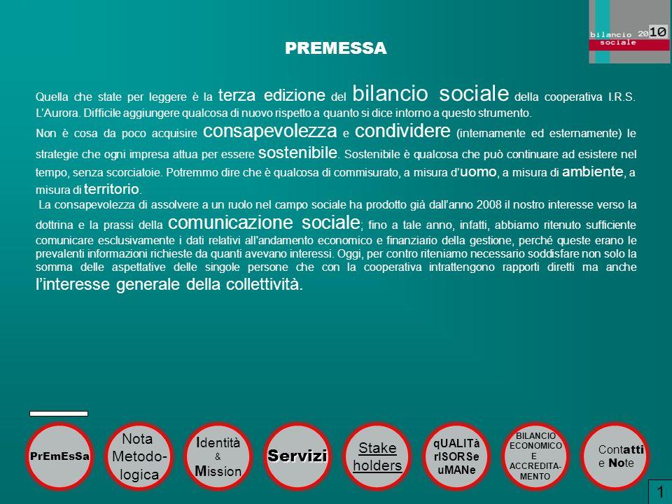 PREMESSA Quella che state per leggere è la terza edizione del bilancio sociale della cooperativa I.R.S. LAurora. Difficile aggiungere qualcosa di nuov