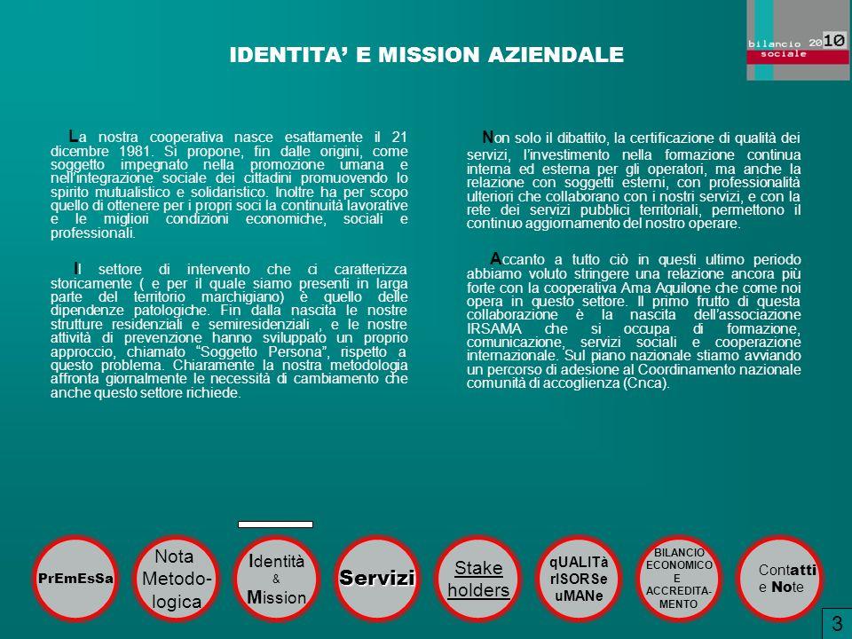 IDENTITA E MISSION AZIENDALE L a nostra cooperativa nasce esattamente il 21 dicembre 1981. Si propone, fin dalle origini, come soggetto impegnato nell