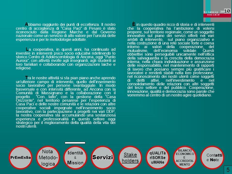 A bbiamo raggiunto dei punti di eccellenza. Il nostro centro di accoglienza di Casa Paci di Pesaro è stato riconosciuto dalla Regione Marche e dal Gov