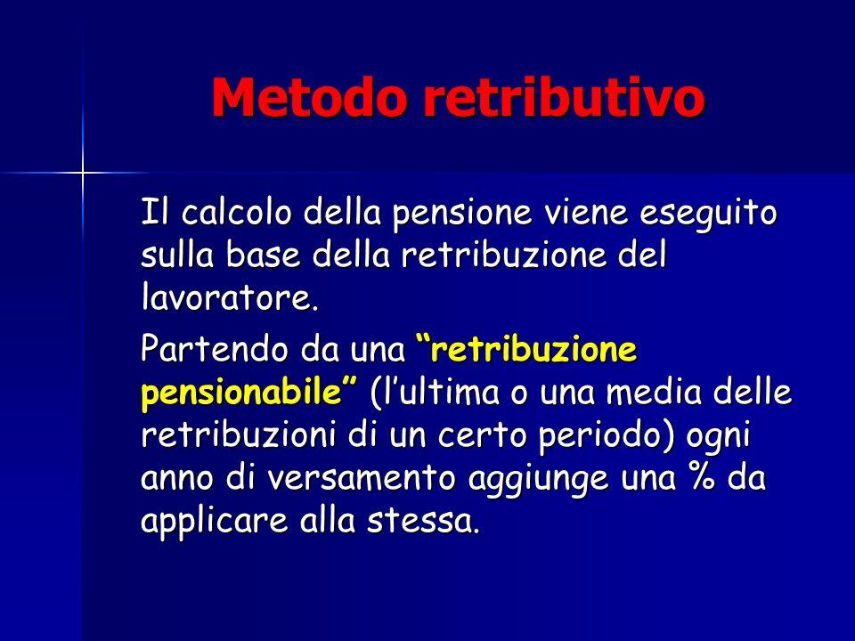 Metodo retributivo Metodo retributivo Il calcolo della pensione viene eseguito sulla base della retribuzione del lavoratore. Partendo da una retribuzi
