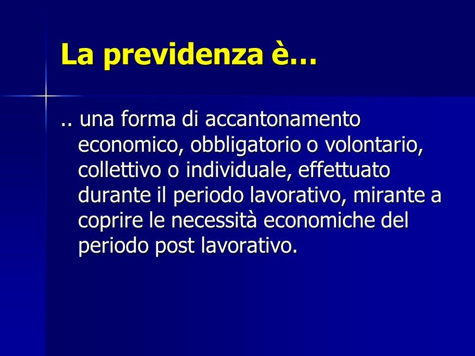 La previdenza è….. una forma di accantonamento economico, obbligatorio o volontario, collettivo o individuale, effettuato durante il periodo lavorativ