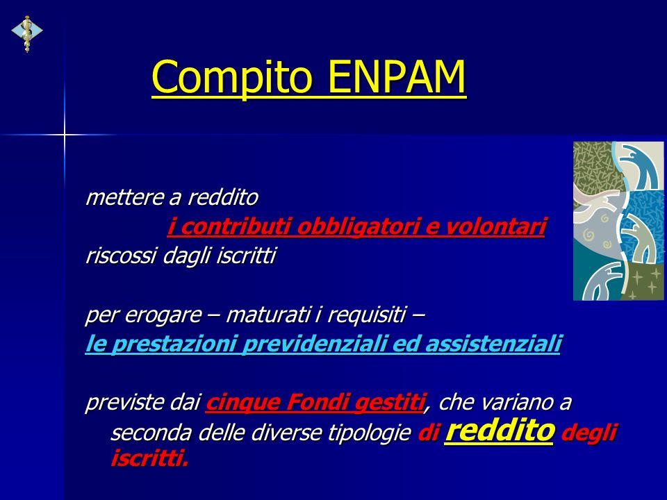 Compito ENPAM mettere a reddito i contributi obbligatori e volontari riscossi dagli iscritti per erogare – maturati i requisiti – le prestazioni previ