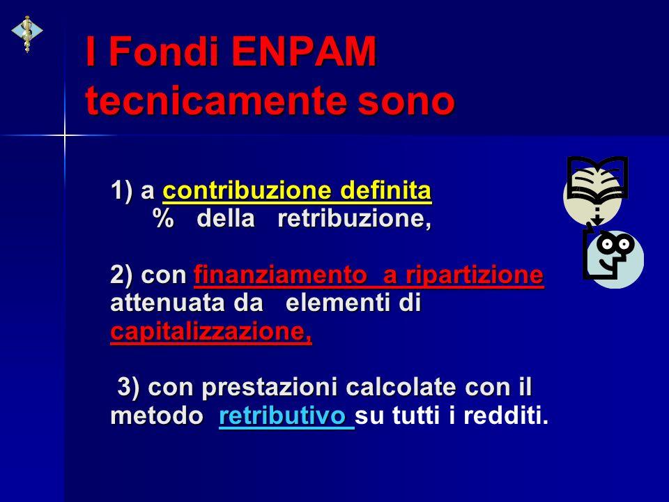 I Fondi ENPAM tecnicamente sono 1) a contribuzione definita % della retribuzione, 2) con finanziamento a ripartizione attenuata da elementi di capital
