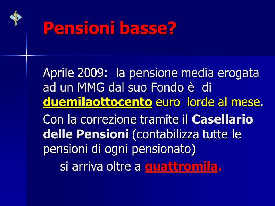 Pensioni basse? Aprile 2009: la pensione media erogata ad un MMG dal suo Fondo è di duemilaottocento euro lorde al mese. Con la correzione tramite il