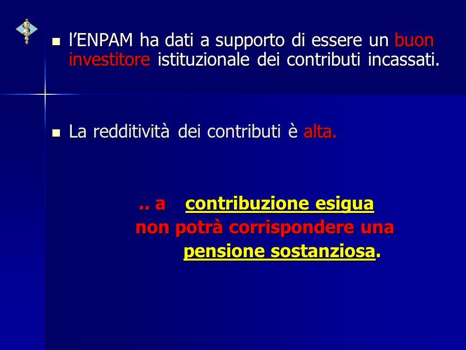 lENPAM ha dati a supporto di essere un buon investitore istituzionale dei contributi incassati. lENPAM ha dati a supporto di essere un buon investitor