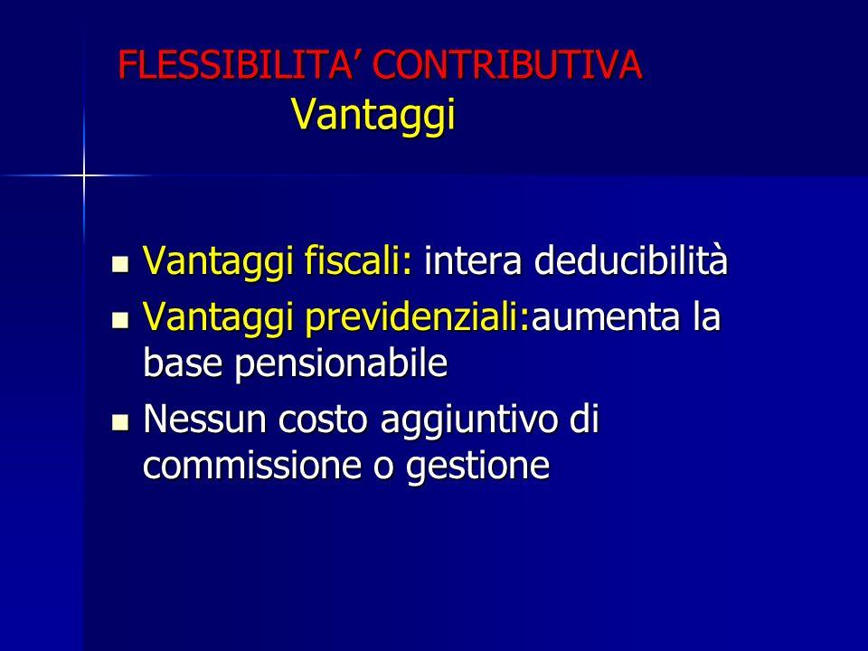 FLESSIBILITA CONTRIBUTIVA Vantaggi Vantaggi fiscali: intera deducibilità Vantaggi fiscali: intera deducibilità Vantaggi previdenziali:aumenta la base