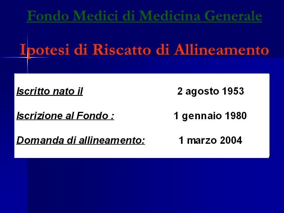 Fondo Medici di Medicina Generale Ipotesi di Riscatto di Allineamento