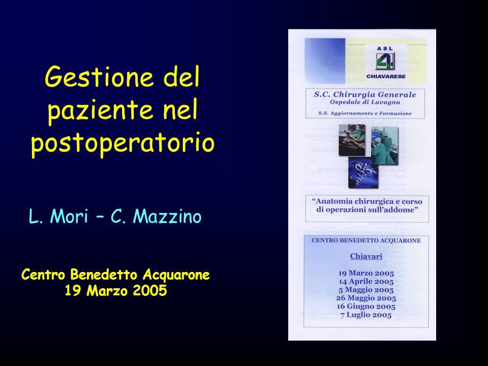 GESTIONE POSTOPERATORIA Valutazione dei segni vitali Controlli ematochimici Terapia Sng Digiuno/rialimentazione Drenaggi Mobilizzazione Catetere vescicale Medicazioni