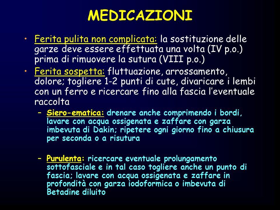 MEDICAZIONI Ferita pulita non complicata: la sostituzione delle garze deve essere effettuata una volta (IV p.o.) prima di rimuovere la sutura (VIII p.