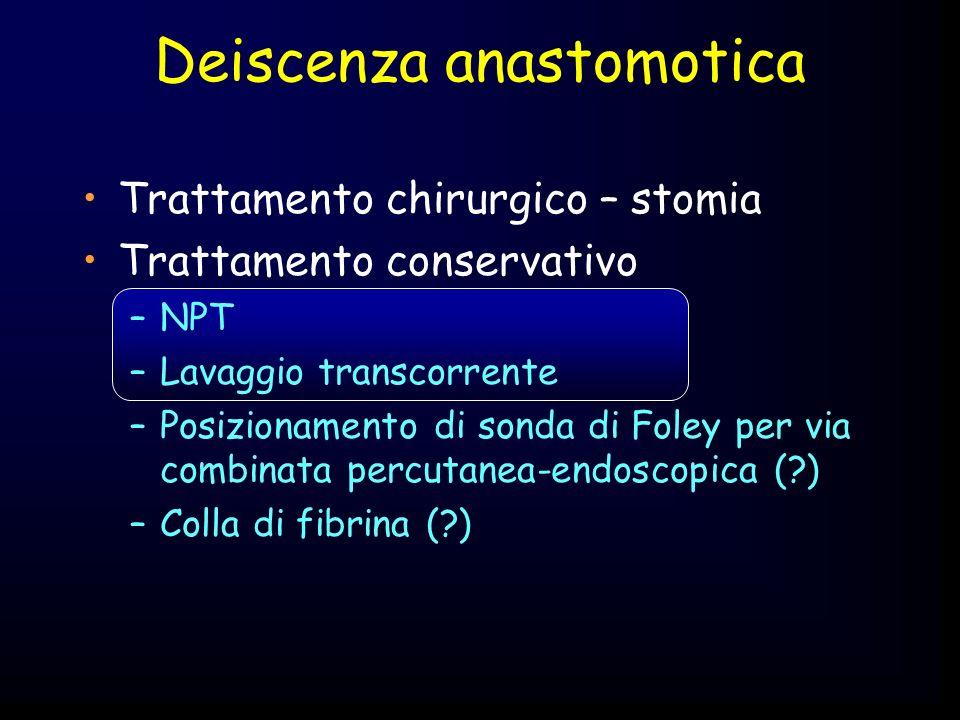 Trattamento chirurgico – stomia Trattamento conservativo –NPT –Lavaggio transcorrente –Posizionamento di sonda di Foley per via combinata percutanea-e