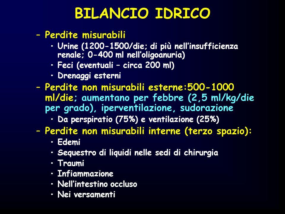 BILANCIO IDRICO –Perdite misurabili Urine (1200-1500/die; di più nellinsufficienza renale; 0-400 ml nelloligoanuria) Feci (eventuali – circa 200 ml) D