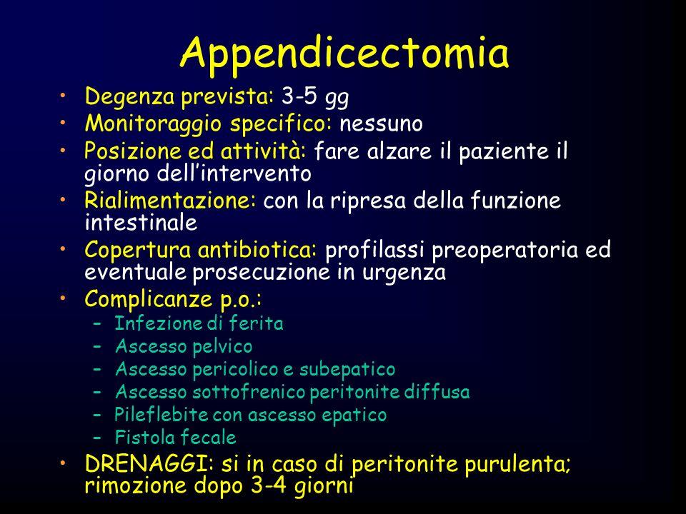 Appendicectomia Degenza prevista: 3-5 gg Monitoraggio specifico: nessuno Posizione ed attività: fare alzare il paziente il giorno dellintervento Riali