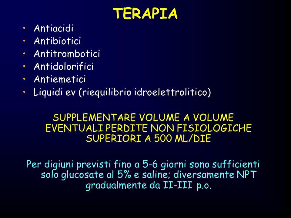 TERAPIA Antiacidi Antibiotici Antitrombotici Antidolorifici Antiemetici Liquidi ev (riequilibrio idroelettrolitico) SUPPLEMENTARE VOLUME A VOLUME EVEN