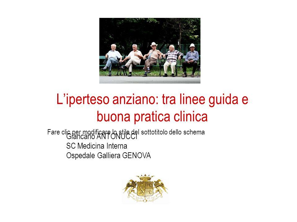 Fare clic per modificare lo stile del sottotitolo dello schema Liperteso anziano: tra linee guida e buona pratica clinica Giancarlo ANTONUCCI SC Medic