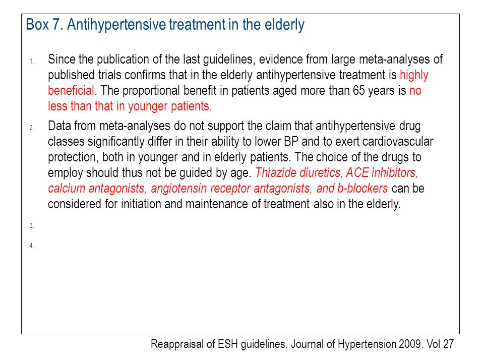 Box 7.Antihypertensive treatment in the elderly 1.