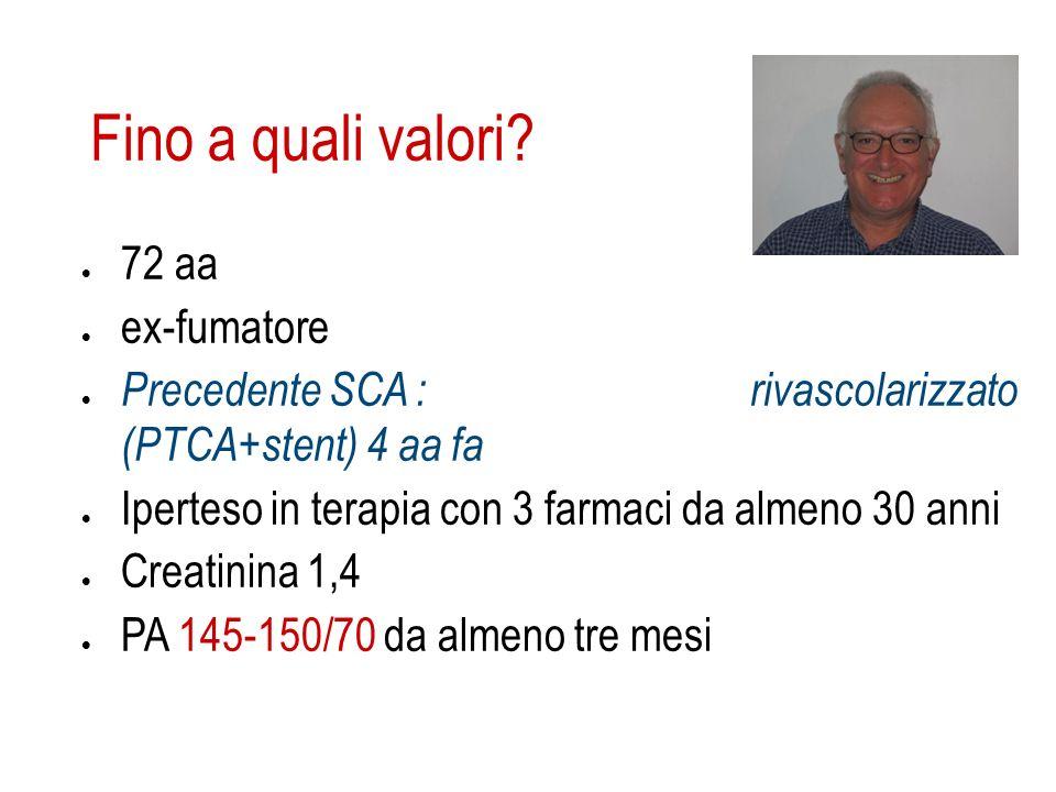 Fino a quali valori? 72 aa ex-fumatore Precedente SCA : rivascolarizzato (PTCA+stent) 4 aa fa Iperteso in terapia con 3 farmaci da almeno 30 anni Crea