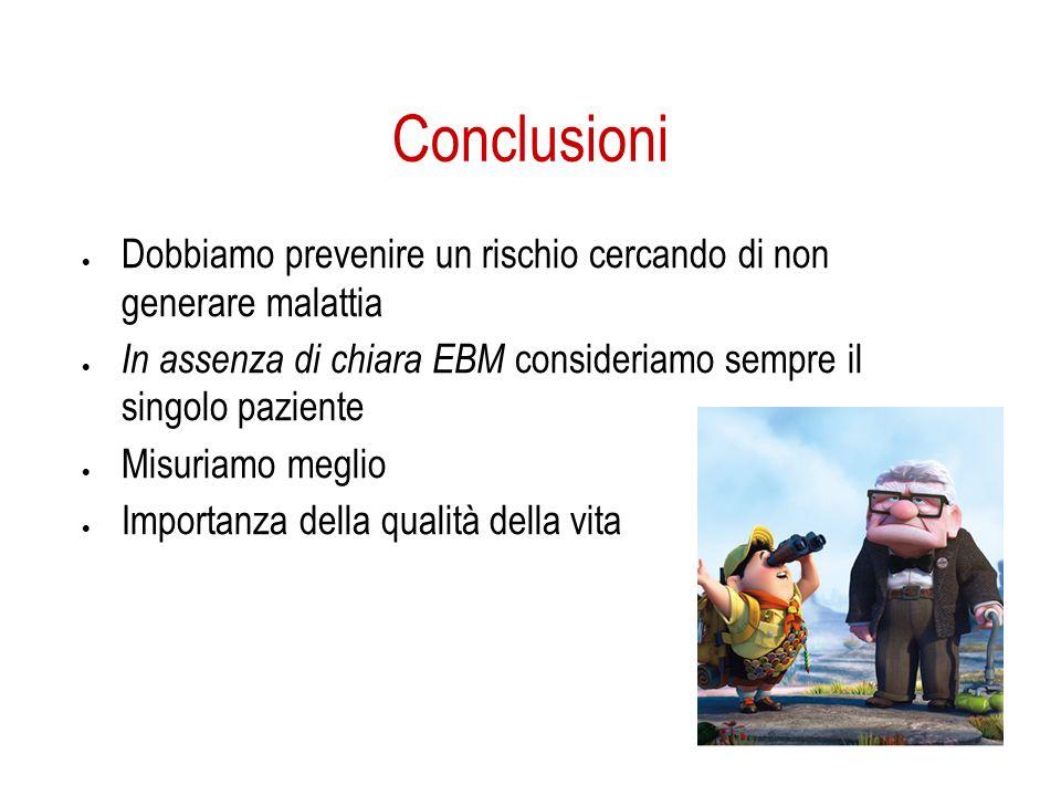 Conclusioni Dobbiamo prevenire un rischio cercando di non generare malattia In assenza di chiara EBM consideriamo sempre il singolo paziente Misuriamo