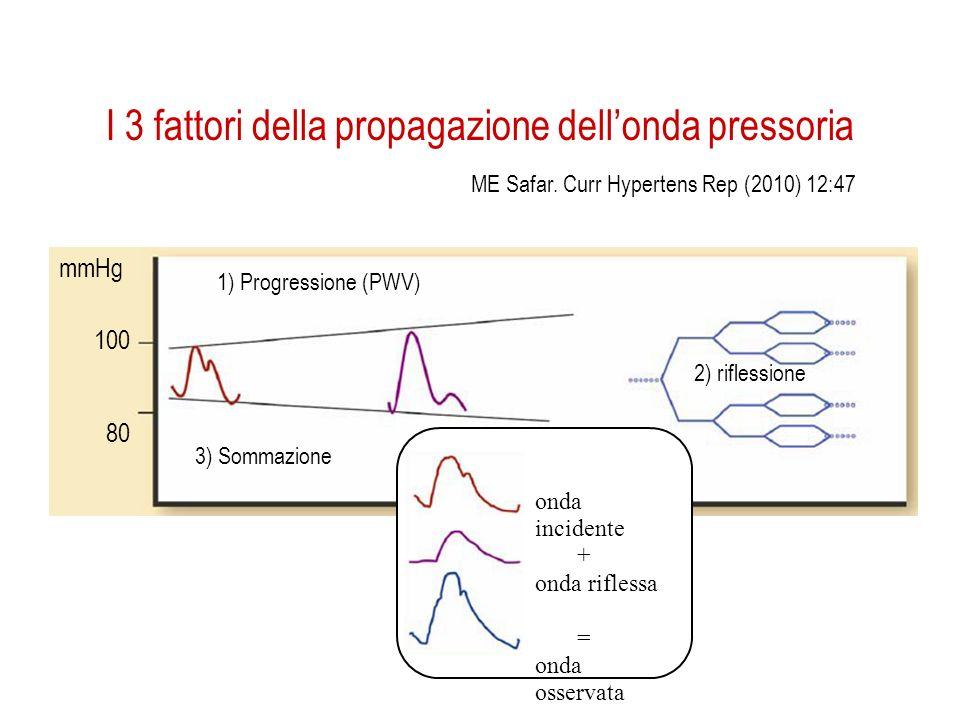 I 3 fattori della propagazione dellonda pressoria 1) Progressione (PWV) 2) riflessione 3) Sommazione 100 80 mmHg onda incidente + onda riflessa = onda