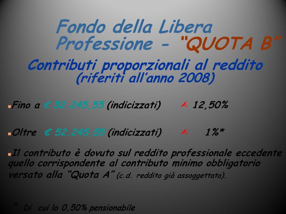 Fondo della Libera Professione - QUOTA B n Fino a 52.245,55 (indicizzati) 12,50% n Oltre 52.245,55 (indicizzati) 1%* n Il contributo è dovuto sul redd