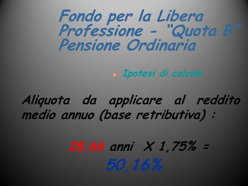 Fondo per la Libera Professione - Quota B Pensione Ordinaria n Ipotesi di calcolo Aliquota da applicare al reddito medio annuo (base retributiva) : 28