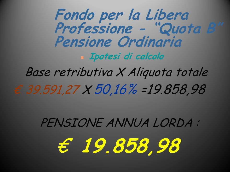 Fondo per la Libera Professione - Quota B Pensione Ordinaria n Ipotesi di calcolo Base retributiva X Aliquota totale 39.591,27 X 50,16% = 19.858,98 PE