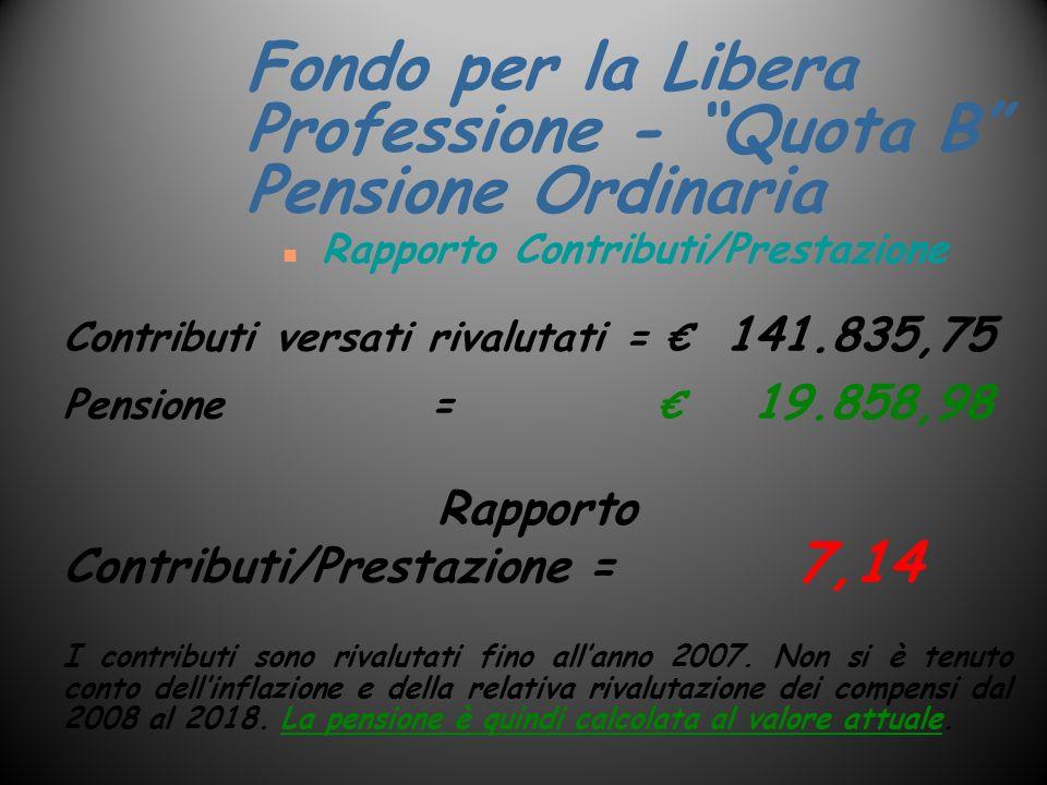 n Rapporto Contributi/Prestazione Contributi versati rivalutati = 141.835,75 Pensione = 19.858,98 Rapporto Contributi/Prestazione= 7,14 I contributi s