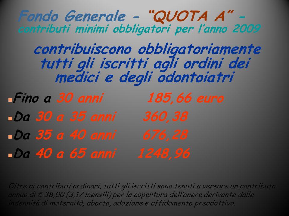 Fondo Generale - QUOTA A - contributi minimi obbligatori per lanno 2009 n Fino a 30 anni 185,66 euro n Da 30 a 35 anni 360,38 n Da 35 a 40 anni 676,28