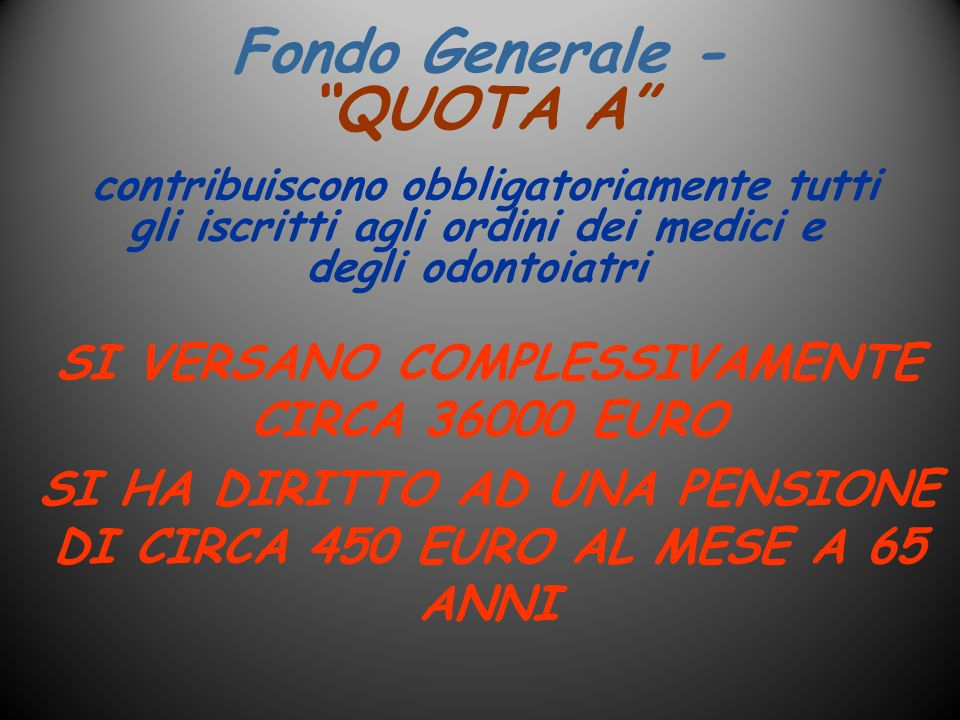 Fondo Generale - QUOTA A SI VERSANO COMPLESSIVAMENTE CIRCA 36000 EURO SI HA DIRITTO AD UNA PENSIONE DI CIRCA 450 EURO AL MESE A 65 ANNI contribuiscono