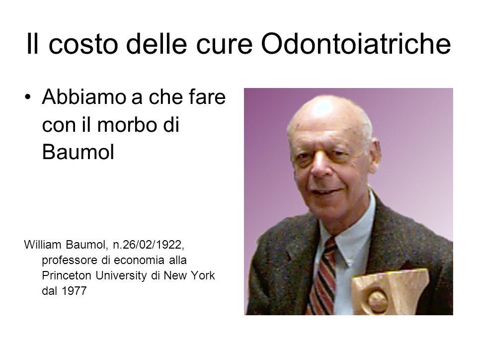 Il costo delle cure Odontoiatriche Abbiamo a che fare con il morbo di Baumol William Baumol, n.26/02/1922, professore di economia alla Princeton Unive