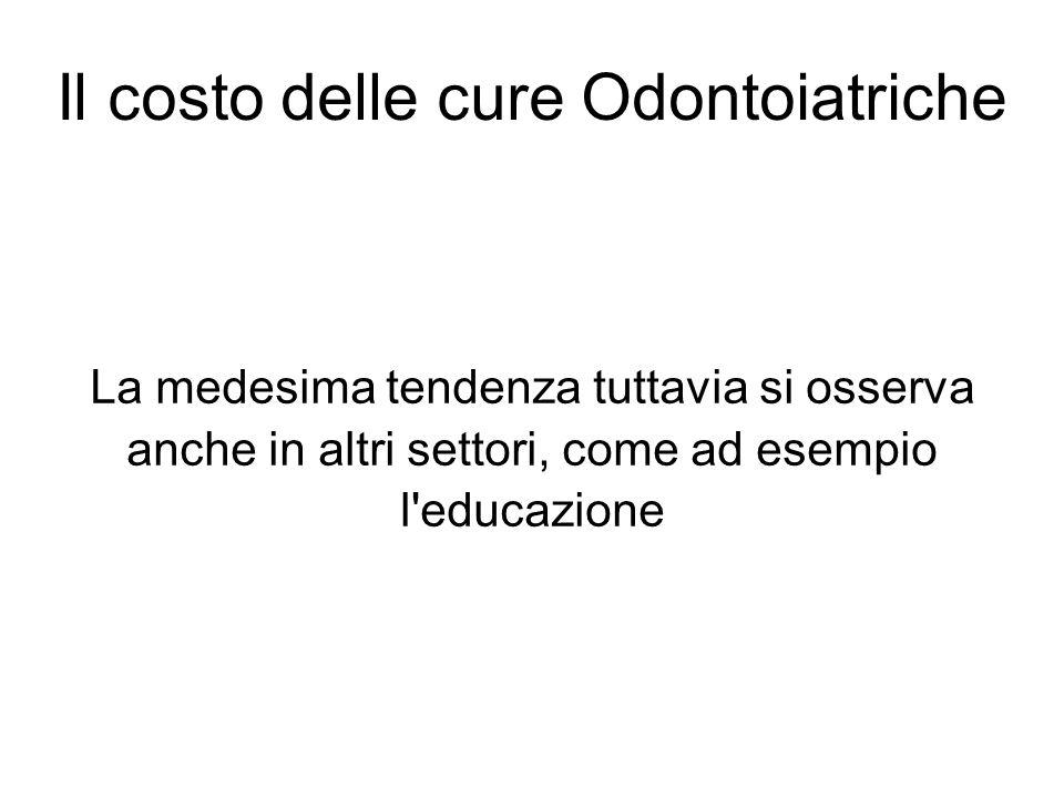 Il costo delle cure Odontoiatriche La medesima tendenza tuttavia si osserva anche in altri settori, come ad esempio l'educazione