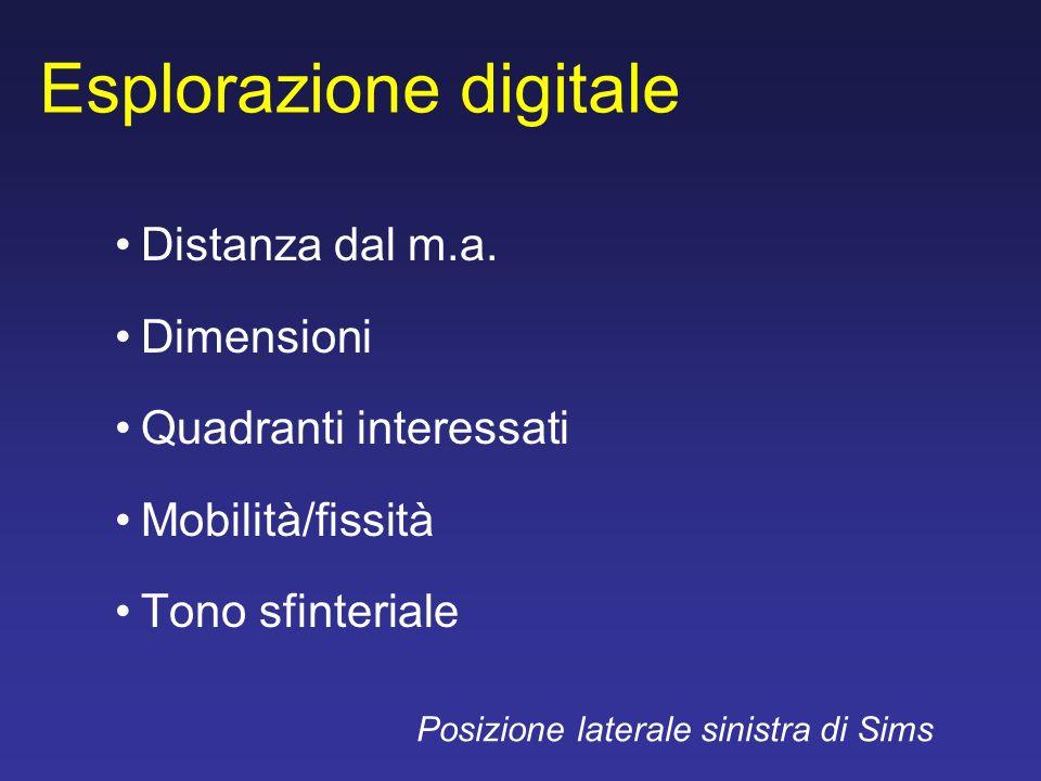 Esplorazione digitale Distanza dal m.a. Dimensioni Quadranti interessati Mobilità/fissità Tono sfinteriale Posizione laterale sinistra di Sims