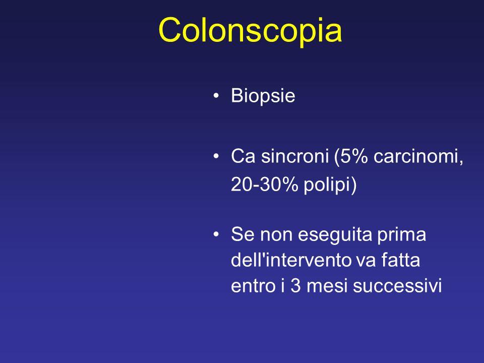 Colonscopia Biopsie Ca sincroni (5% carcinomi, 20-30% polipi) Se non eseguita prima dell'intervento va fatta entro i 3 mesi successivi