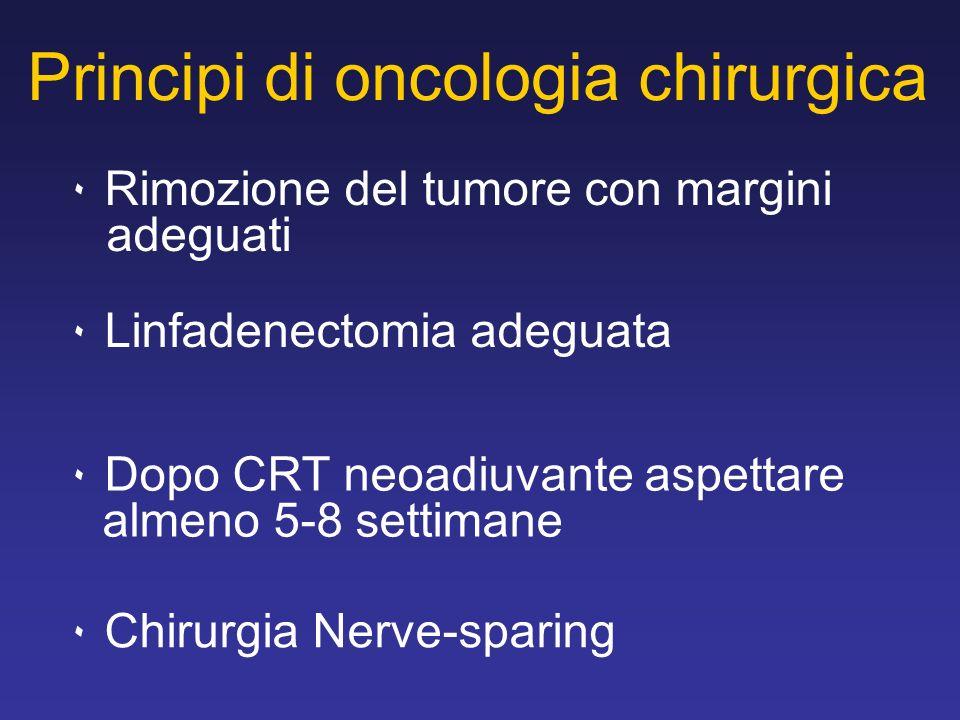Principi di oncologia chirurgica ٠ Rimozione del tumore con margini adeguati ٠ Linfadenectomia adeguata ٠ Dopo CRT neoadiuvante aspettare almeno 5-8 settimane ٠ Chirurgia Nerve-sparing
