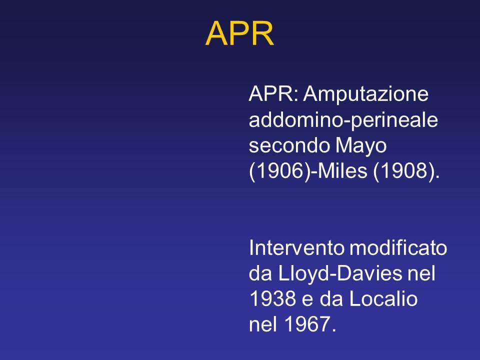 APR APR: Amputazione addomino-perineale secondo Mayo (1906)-Miles (1908). Intervento modificato da Lloyd-Davies nel 1938 e da Localio nel 1967.
