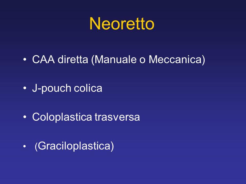 Neoretto CAA diretta (Manuale o Meccanica) J-pouch colica Coloplastica trasversa ( Graciloplastica)