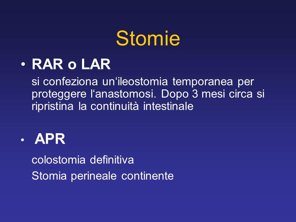 Stomie RAR o LAR si confeziona unileostomia temporanea per proteggere lanastomosi. Dopo 3 mesi circa si ripristina la continuità intestinale APR colos