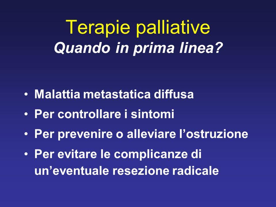 Terapie palliative Quando in prima linea? Malattia metastatica diffusa Per controllare i sintomi Per prevenire o alleviare lostruzione Per evitare le